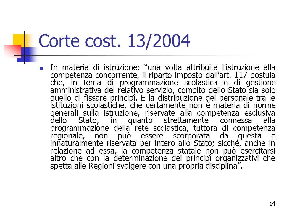 14 Corte cost. 13/2004 In materia di istruzione: una volta attribuita listruzione alla competenza concorrente, il riparto imposto dallart. 117 postula