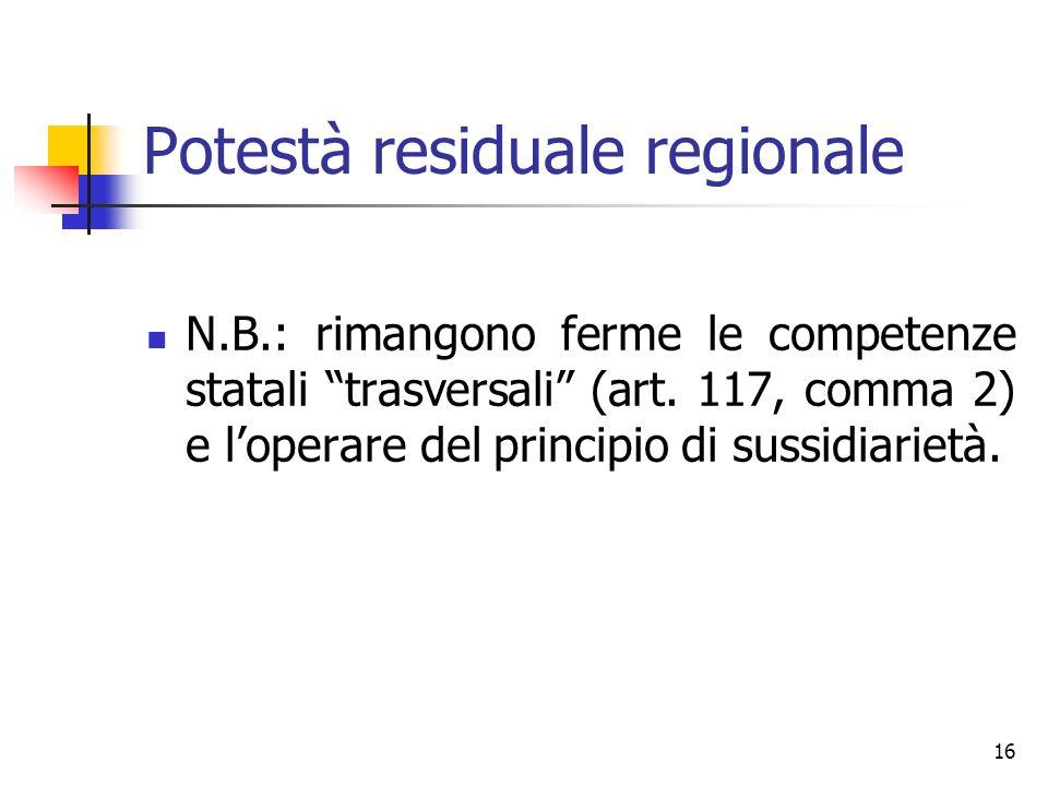 16 Potestà residuale regionale N.B.: rimangono ferme le competenze statali trasversali (art. 117, comma 2) e loperare del principio di sussidiarietà.