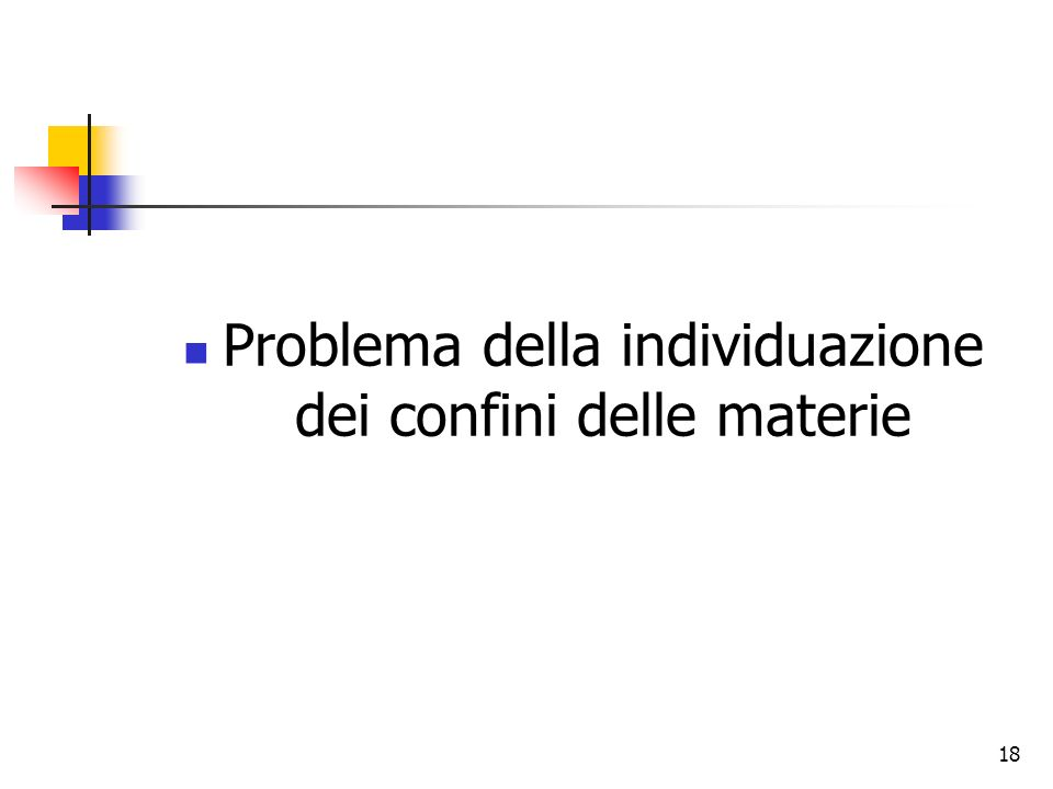 18 Problema della individuazione dei confini delle materie