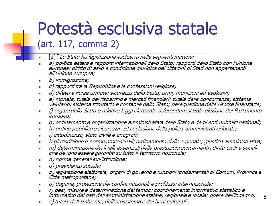 5 Potestà esclusiva statale (art. 117, comma 2) [2] Lo Stato ha legislazione esclusiva nelle seguenti materie: a) politica estera e rapporti internazi