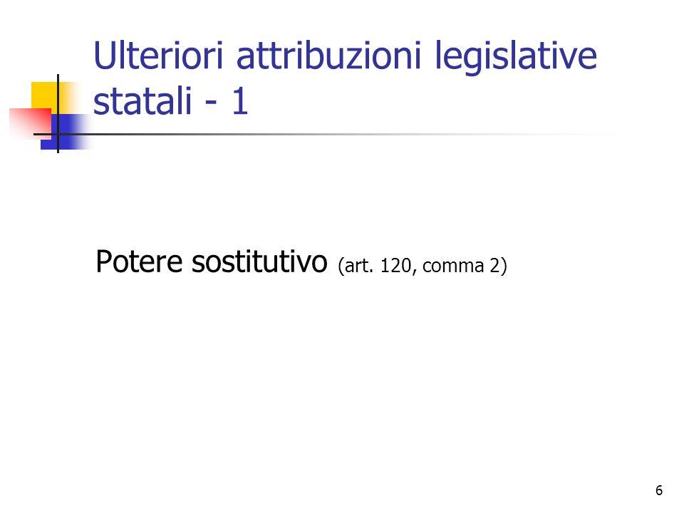 7 Ulteriori attribuzioni legislative statali - 2 Principi di sussidiarietà e adeguatezza (art.
