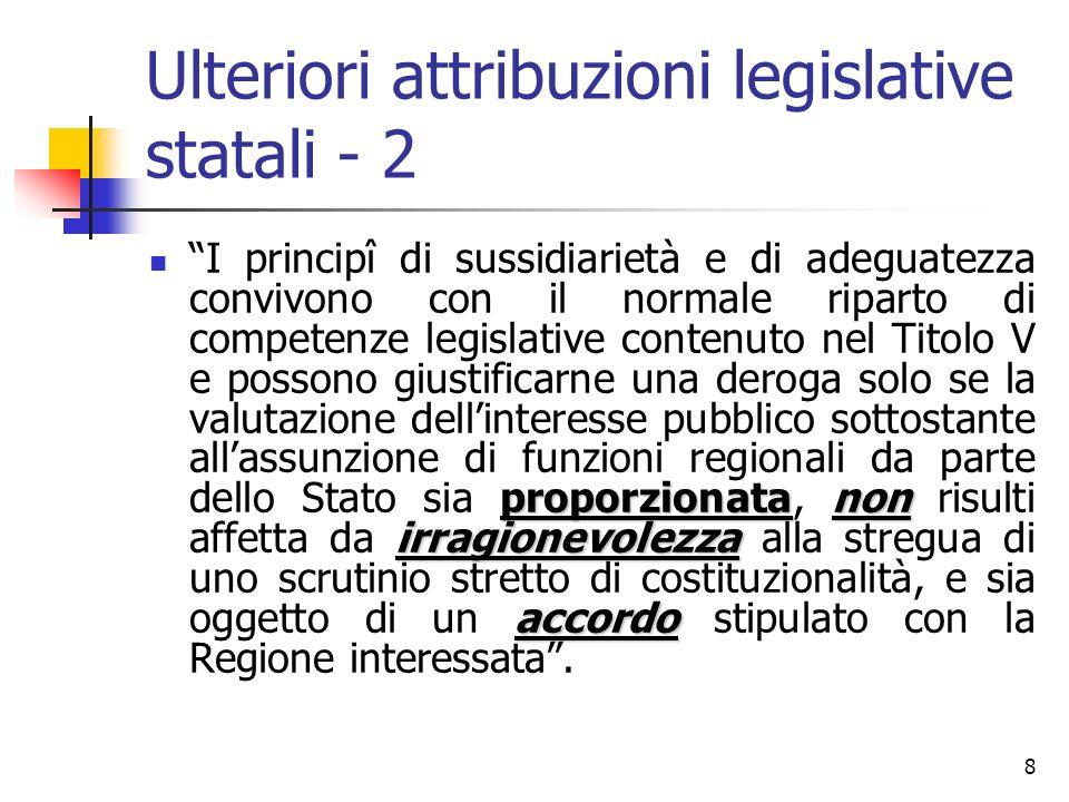 8 Ulteriori attribuzioni legislative statali - 2 proporzionatanon irragionevolezza accordo I principî di sussidiarietà e di adeguatezza convivono con