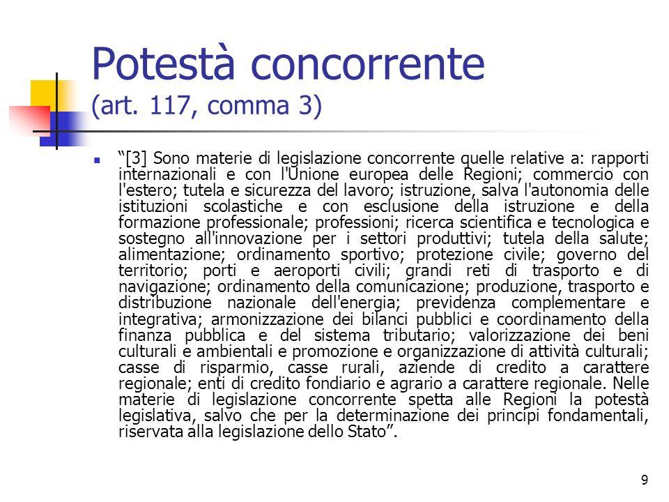 9 Potestà concorrente (art. 117, comma 3) [3] Sono materie di legislazione concorrente quelle relative a: rapporti internazionali e con l'Unione europ