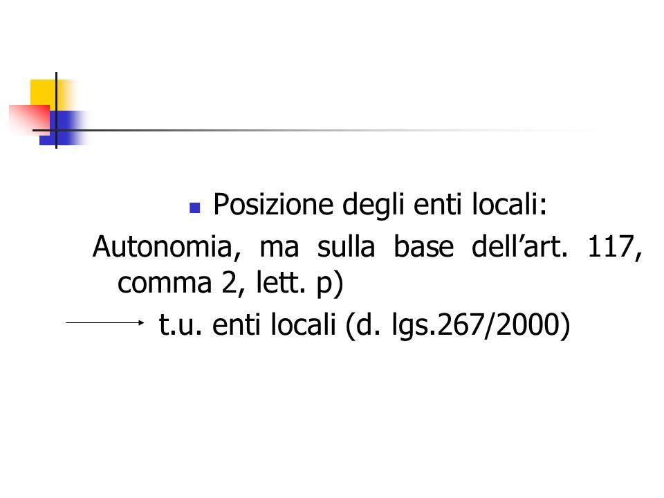 Posizione degli enti locali: Autonomia, ma sulla base dellart. 117, comma 2, lett. p) t.u. enti locali (d. lgs.267/2000)