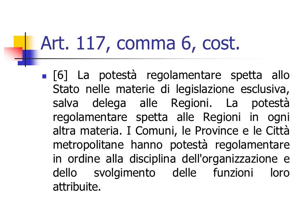 Art. 117, comma 6, cost. [6] La potestà regolamentare spetta allo Stato nelle materie di legislazione esclusiva, salva delega alle Regioni. La potestà