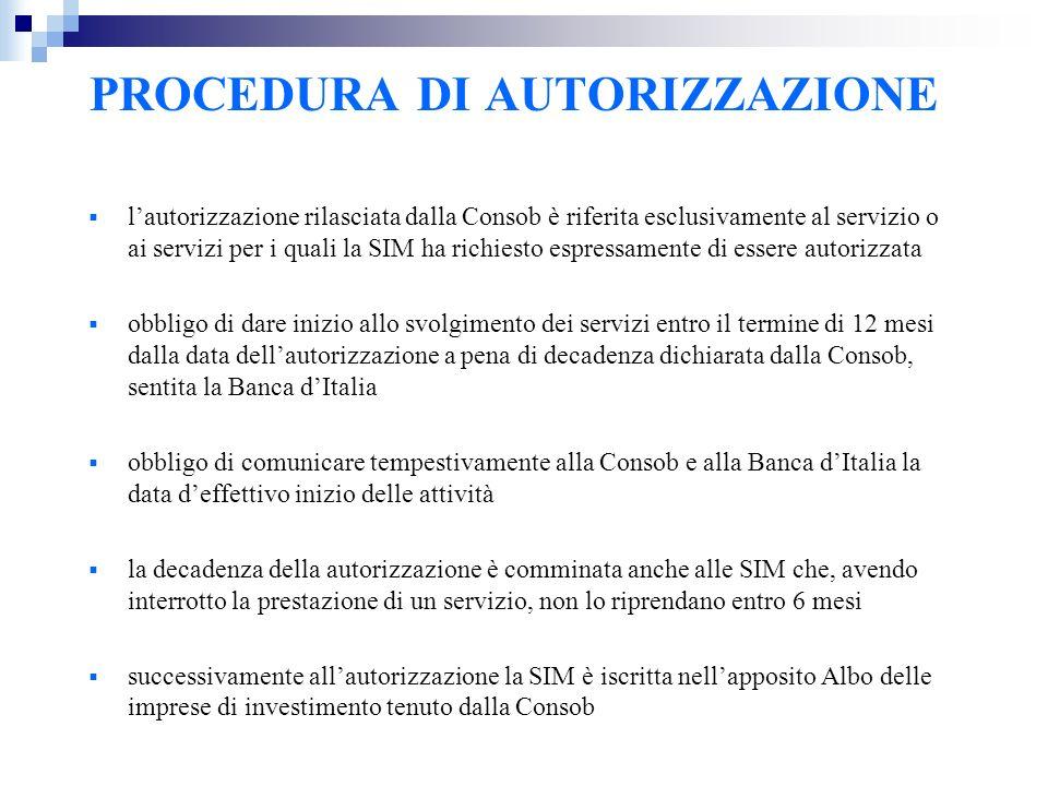 PROCEDURA DI AUTORIZZAZIONE lautorizzazione rilasciata dalla Consob è riferita esclusivamente al servizio o ai servizi per i quali la SIM ha richiesto