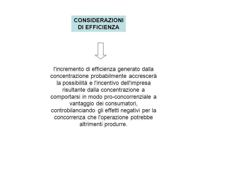 CONSIDERAZIONI DI EFFICIENZA l incremento di efficienza generato dalla concentrazione probabilmente accrescerà la possibilità e l incentivo dell impresa risultante dalla concentrazione a comportarsi in modo pro-concorrenziale a vantaggio dei consumatori, controbilanciando gli effetti negativi per la concorrenza che l operazione potrebbe altrimenti produrre.