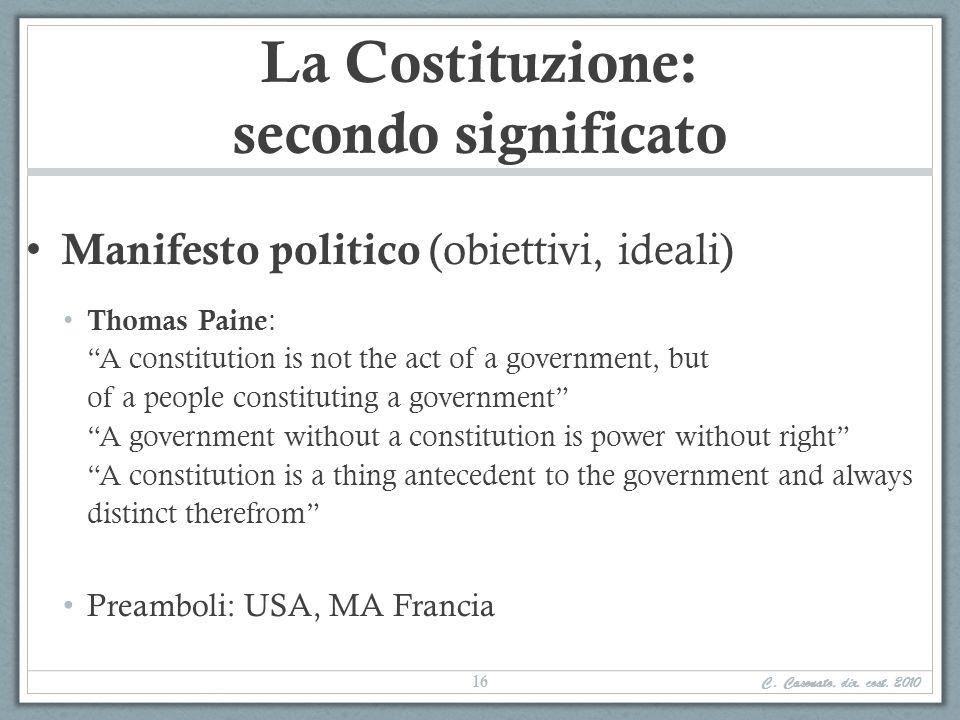 La Costituzione: secondo significato Manifesto politico (obiettivi, ideali) Thomas Paine : A constitution is not the act of a government, but of a peo