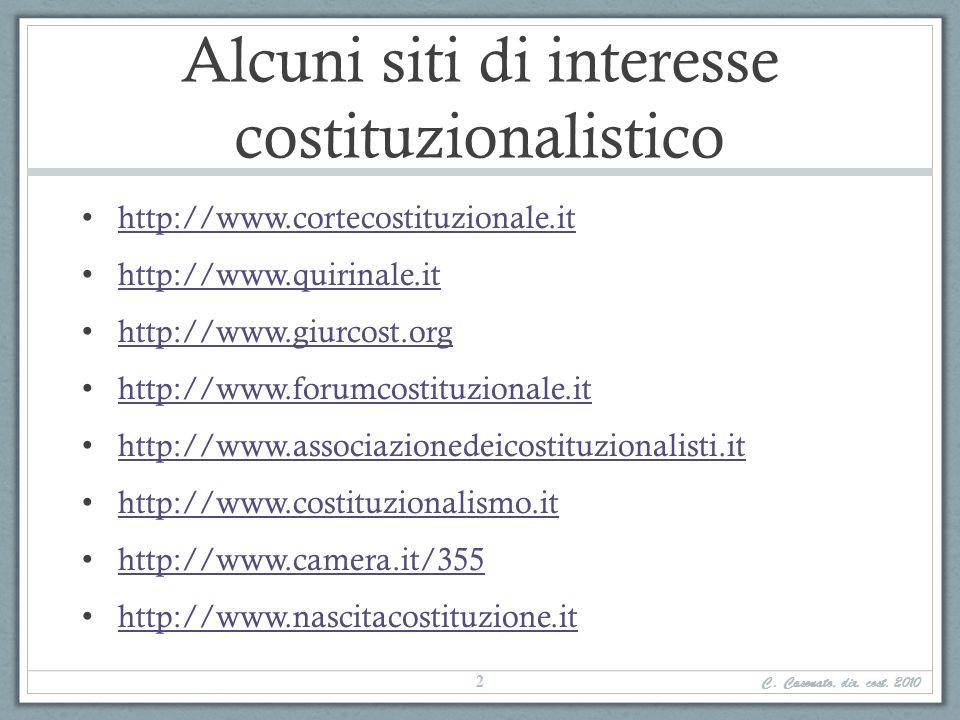 Alcuni siti di interesse costituzionalistico http://www.cortecostituzionale.it http://www.quirinale.it http://www.giurcost.org http://www.forumcostitu