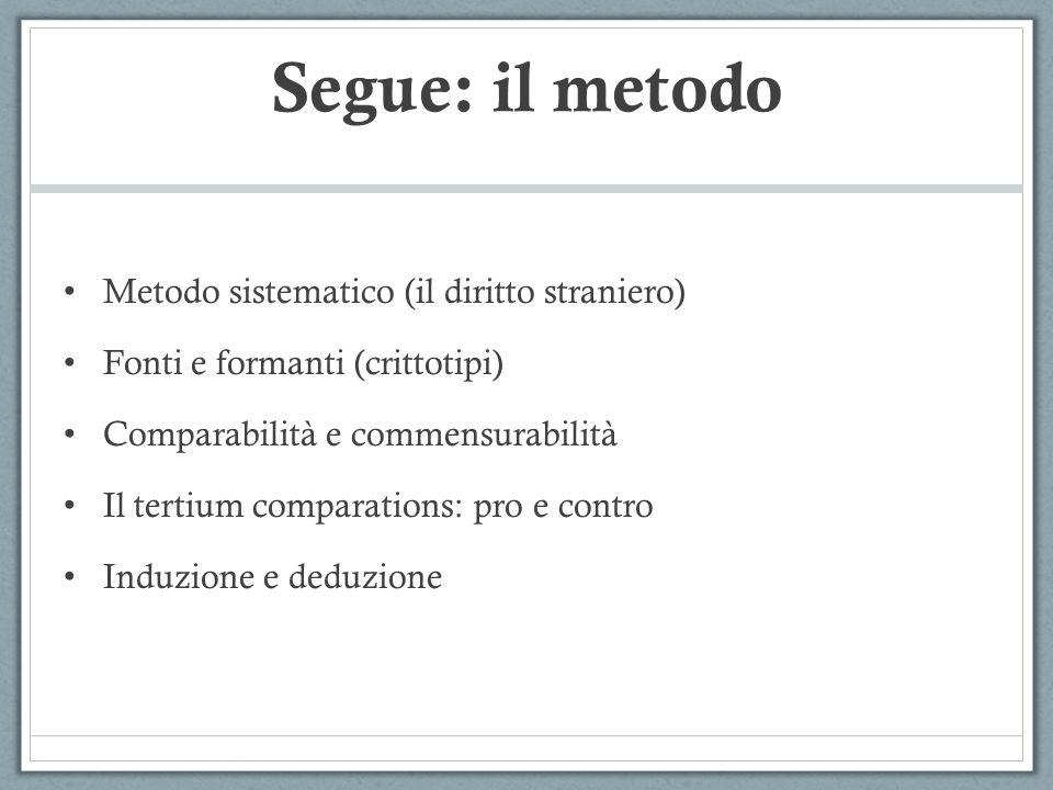 Segue: il metodo Metodo sistematico (il diritto straniero) Fonti e formanti (crittotipi) Comparabilità e commensurabilità Il tertium comparations: pro
