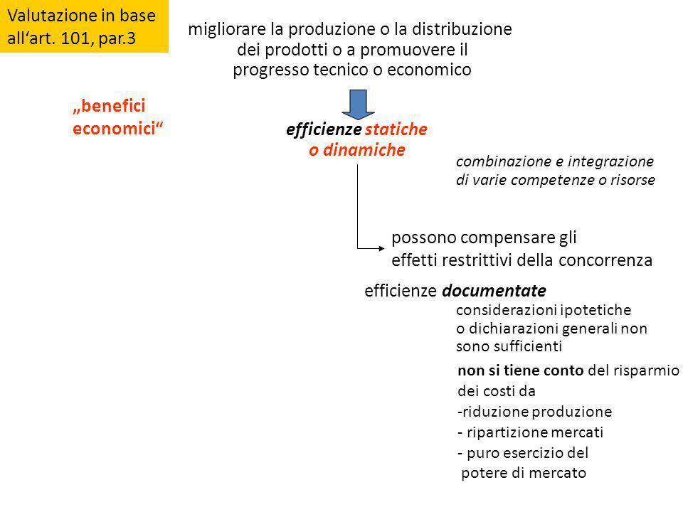 Valutazione in base allart. 101, par.3 migliorare la produzione o la distribuzione dei prodotti o a promuovere il progresso tecnico o economico effici
