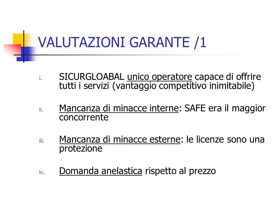 VALUTAZIONI GARANTE /1 i. SICURGLOABAL unico operatore capace di offrire tutti i servizi (vantaggio competitivo inimitabile) ii. Mancanza di minacce i