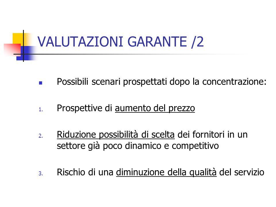 VALUTAZIONI GARANTE /2 Possibili scenari prospettati dopo la concentrazione: 1. Prospettive di aumento del prezzo 2. Riduzione possibilità di scelta d