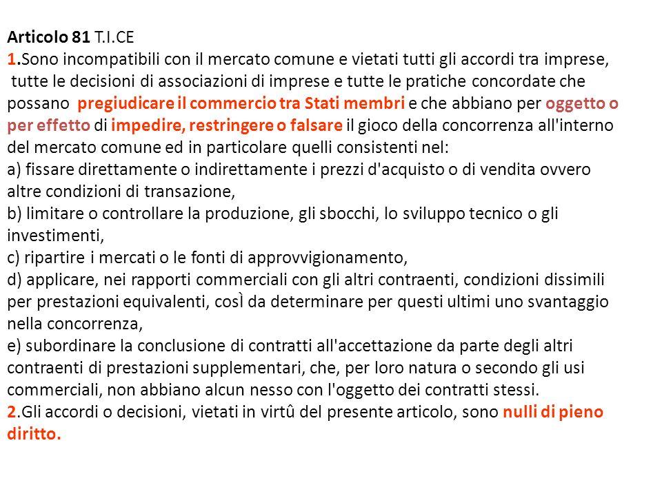 Articolo 81 T.I.CE 1.Sono incompatibili con il mercato comune e vietati tutti gli accordi tra imprese, tutte le decisioni di associazioni di imprese e tutte le pratiche concordate che possano pregiudicare il commercio tra Stati membri e che abbiano per oggetto o per effetto di impedire, restringere o falsare il gioco della concorrenza all interno del mercato comune ed in particolare quelli consistenti nel: a) fissare direttamente o indirettamente i prezzi d acquisto o di vendita ovvero altre condizioni di transazione, b) limitare o controllare la produzione, gli sbocchi, lo sviluppo tecnico o gli investimenti, c) ripartire i mercati o le fonti di approvvigionamento, d) applicare, nei rapporti commerciali con gli altri contraenti, condizioni dissimili per prestazioni equivalenti, cosÌ da determinare per questi ultimi uno svantaggio nella concorrenza, e) subordinare la conclusione di contratti all accettazione da parte degli altri contraenti di prestazioni supplementari, che, per loro natura o secondo gli usi commerciali, non abbiano alcun nesso con l oggetto dei contratti stessi.