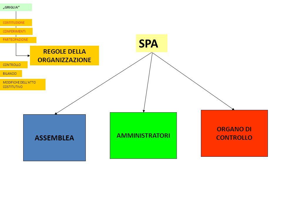 GRIGLIA CONFERIMENTI PARTECIPAZIONE REGOLE DELLA ORGANIZZAZIONE CONTROLLO BILANCIO MODIFICHE DELLATTO COSTITUTIVO COSTITUZIONE ASSEMBLEA AMMINISTRATORI ORGANO DI CONTROLLO SPA
