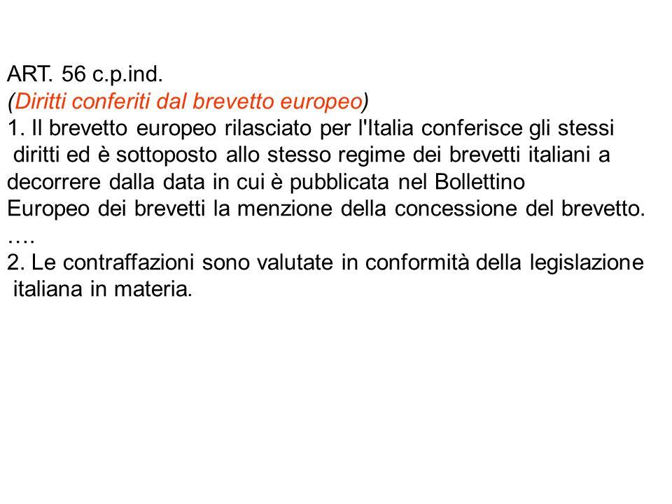ART. 56 c.p.ind. (Diritti conferiti dal brevetto europeo) 1.