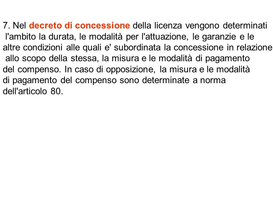 7. Nel decreto di concessione della licenza vengono determinati l'ambito la durata, le modalità per l'attuazione, le garanzie e le altre condizioni al