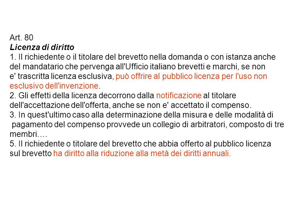 Art. 80 Licenza di diritto 1.