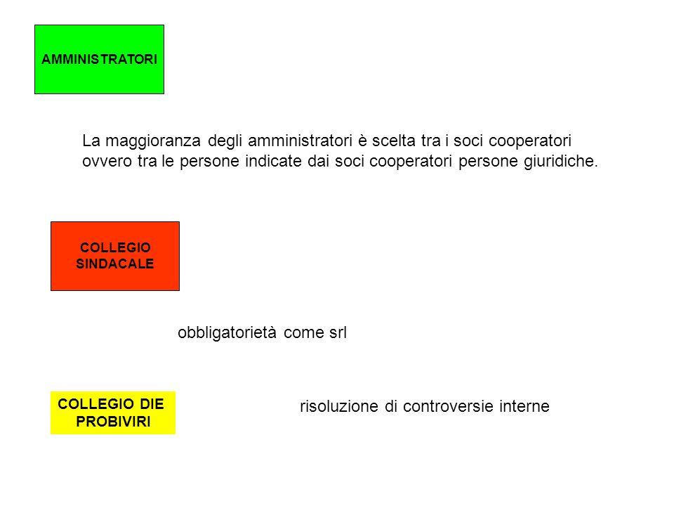 AMMINISTRATORI La maggioranza degli amministratori è scelta tra i soci cooperatori ovvero tra le persone indicate dai soci cooperatori persone giuridi