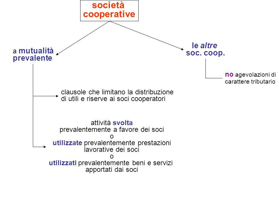società cooperative a mutualità prevalente le altre soc. coop. no agevolazioni di carattere tributario clausole che limitano la distribuzione di utili
