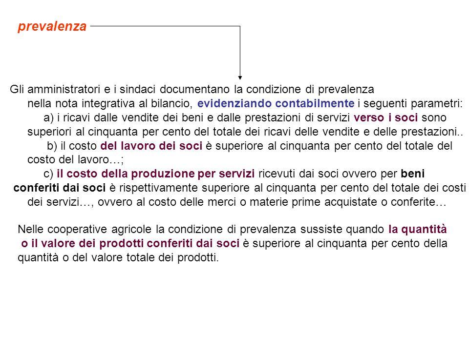 prevalenza Gli amministratori e i sindaci documentano la condizione di prevalenza nella nota integrativa al bilancio, evidenziando contabilmente i seg