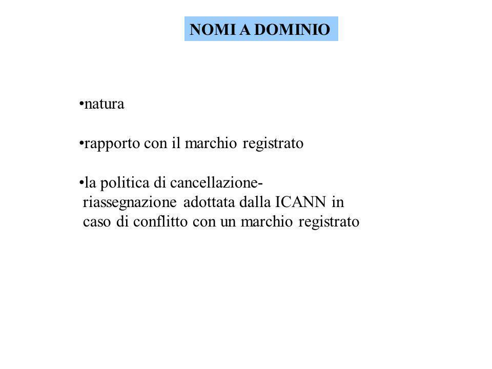 NOMI A DOMINIO natura rapporto con il marchio registrato la politica di cancellazione- riassegnazione adottata dalla ICANN in caso di conflitto con un marchio registrato