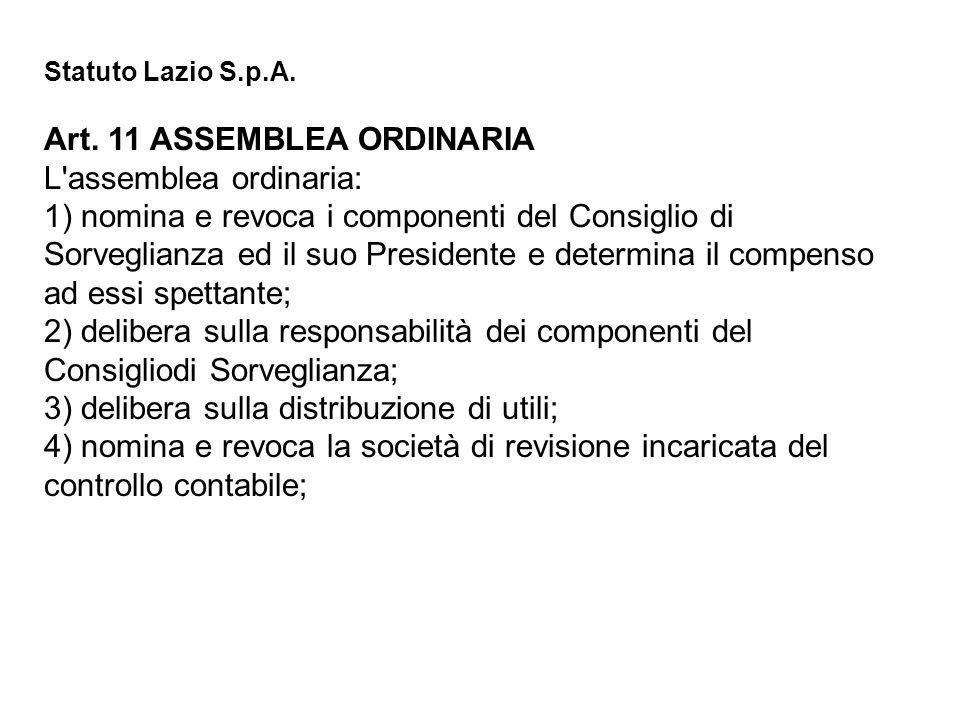 Statuto Lazio S.p.A. Art. 11 ASSEMBLEA ORDINARIA L'assemblea ordinaria: 1) nomina e revoca i componenti del Consiglio di Sorveglianza ed il suo Presid
