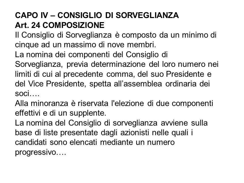 CAPO IV – CONSIGLIO DI SORVEGLIANZA Art. 24 COMPOSIZIONE Il Consiglio di Sorveglianza è composto da un minimo di cinque ad un massimo di nove membri.
