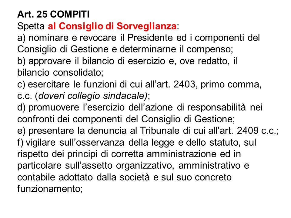Art. 25 COMPITI Spetta al Consiglio di Sorveglianza: a) nominare e revocare il Presidente ed i componenti del Consiglio di Gestione e determinarne il