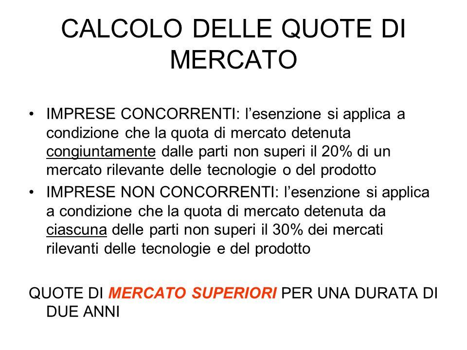 CALCOLO DELLE QUOTE DI MERCATO IMPRESE CONCORRENTI: lesenzione si applica a condizione che la quota di mercato detenuta congiuntamente dalle parti non