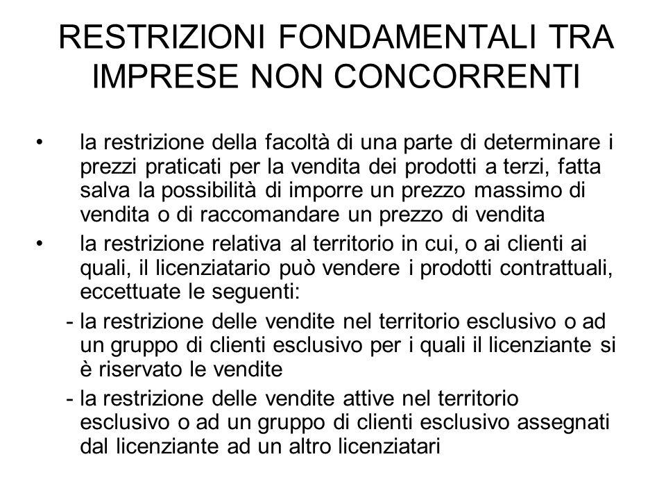 RESTRIZIONI FONDAMENTALI TRA IMPRESE NON CONCORRENTI la restrizione della facoltà di una parte di determinare i prezzi praticati per la vendita dei pr