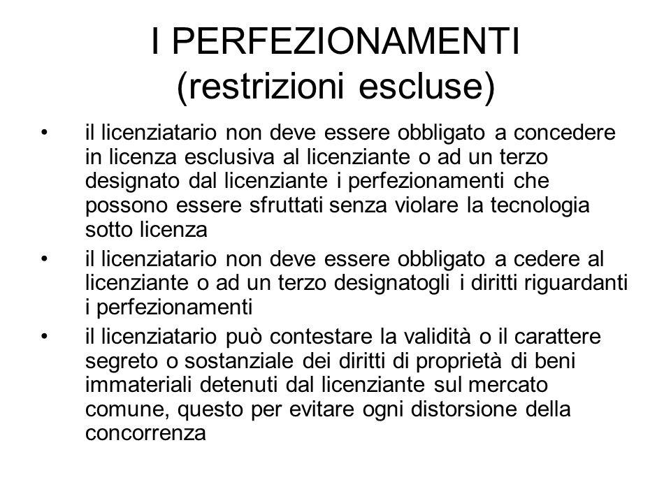 I PERFEZIONAMENTI (restrizioni escluse) il licenziatario non deve essere obbligato a concedere in licenza esclusiva al licenziante o ad un terzo desig