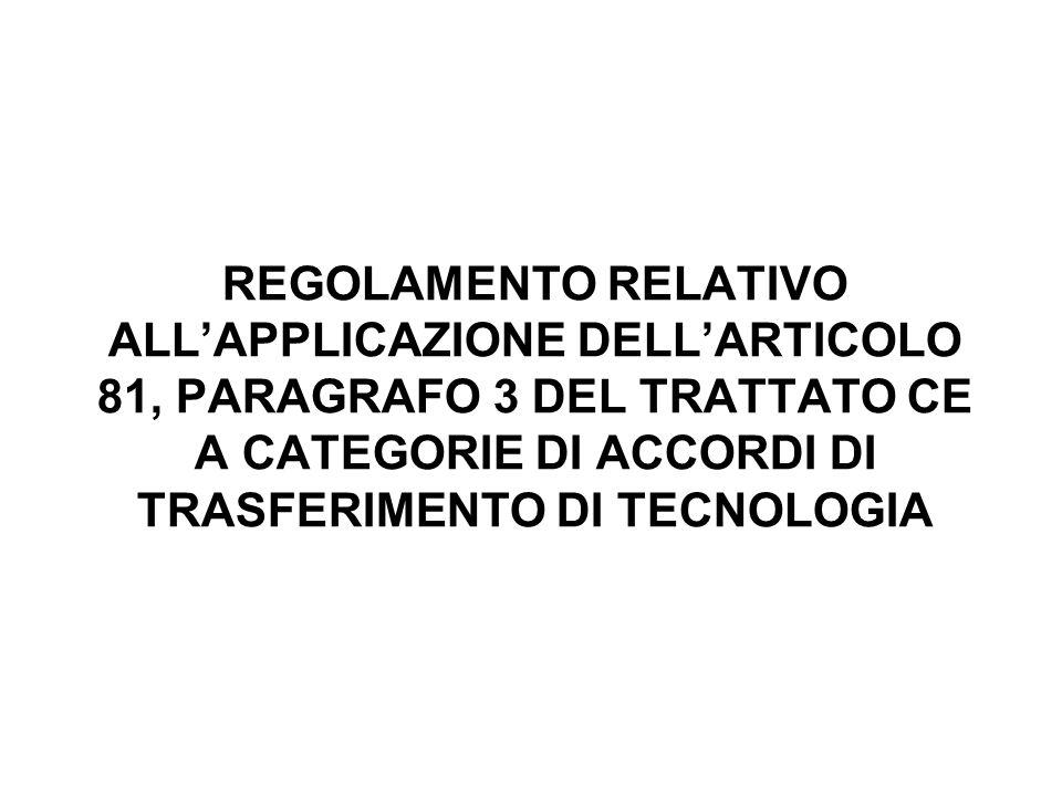 OGGETTO DELLESENZIONE PER CATEGORIA ACCORDI DI TRASFERIMENTO DI TECNOLOGIA CONCLUSI TRA DUE IMPRESE: il licenziante consente al licenziatario di sfruttare la tecnologia sotto licenza per la produzione o la fornitura di beni o servizi