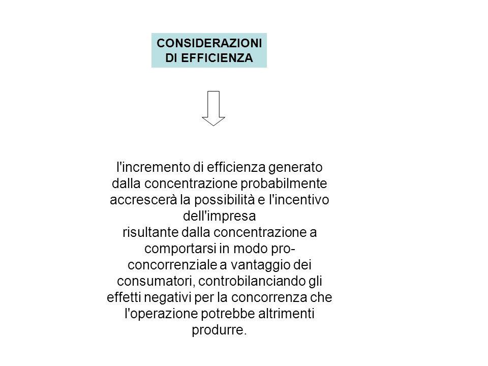 CONSIDERAZIONI DI EFFICIENZA l incremento di efficienza generato dalla concentrazione probabilmente accrescerà la possibilità e l incentivo dell impresa risultante dalla concentrazione a comportarsi in modo pro- concorrenziale a vantaggio dei consumatori, controbilanciando gli effetti negativi per la concorrenza che l operazione potrebbe altrimenti produrre.