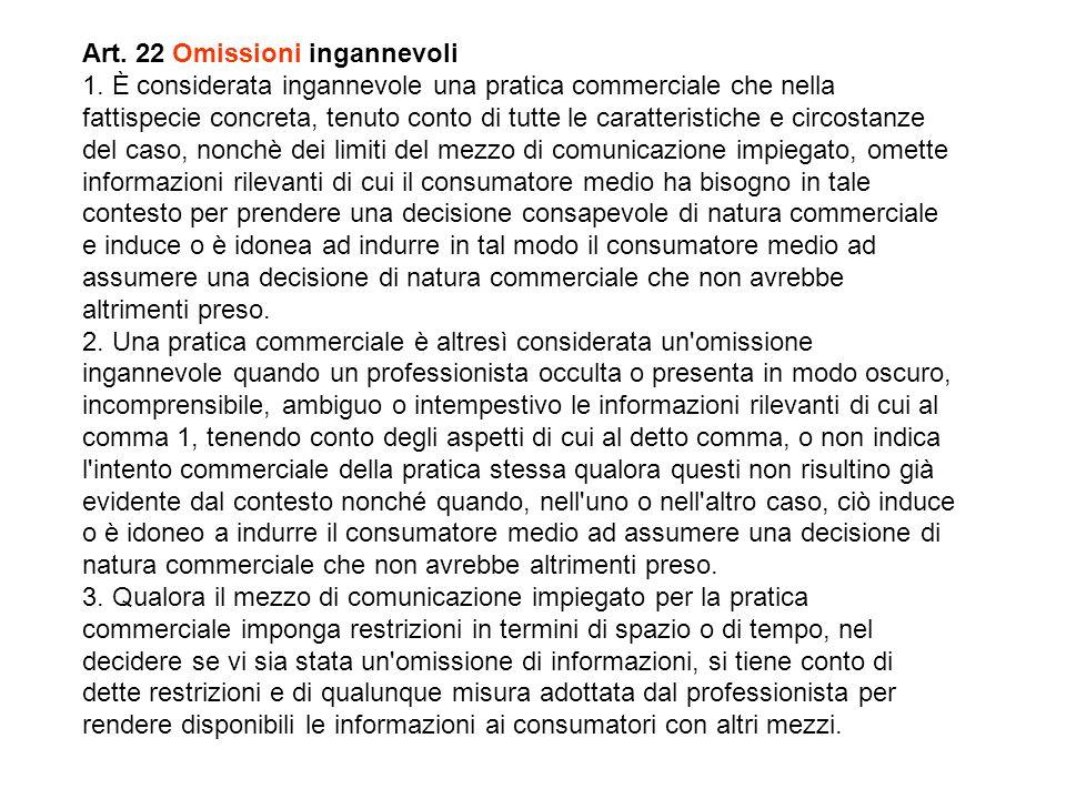 Art. 22 Omissioni ingannevoli 1.
