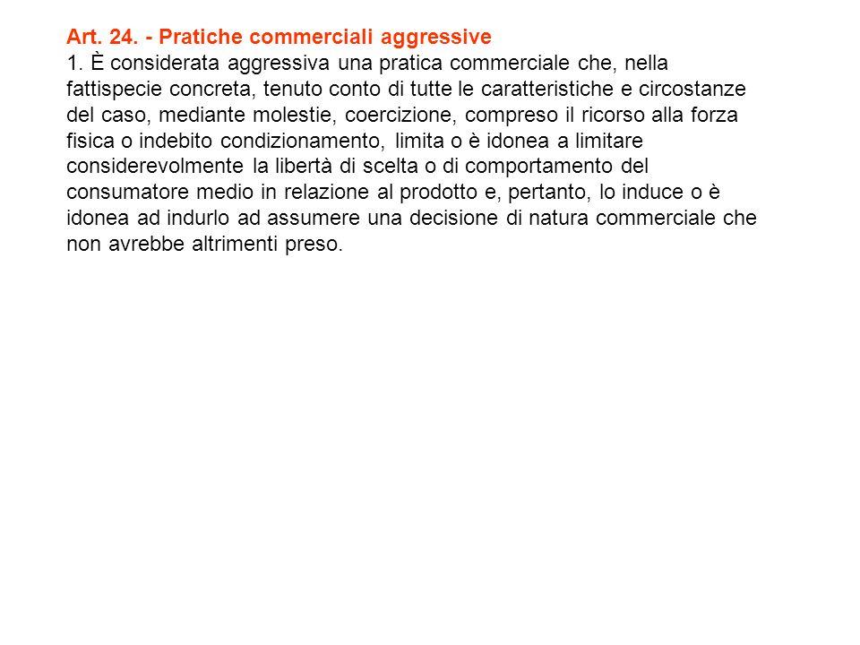 Art. 24. - Pratiche commerciali aggressive 1.