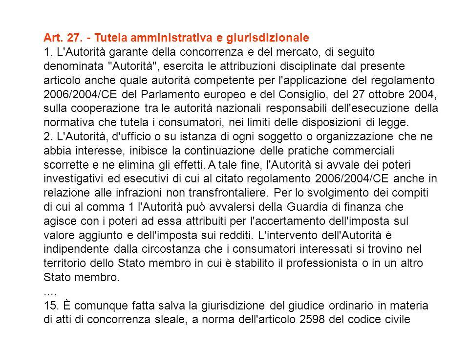 Art. 27. - Tutela amministrativa e giurisdizionale 1.