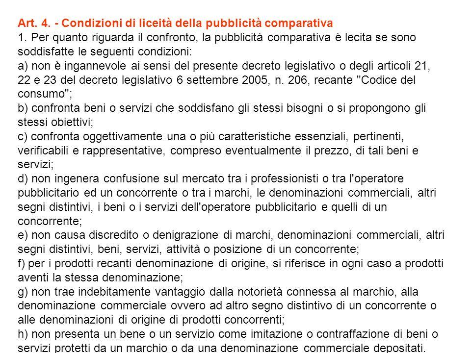 Art. 4. - Condizioni di liceità della pubblicità comparativa 1.