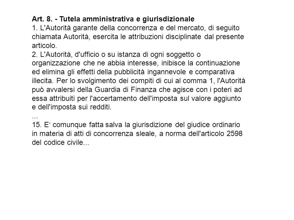Art. 8. - Tutela amministrativa e giurisdizionale 1.