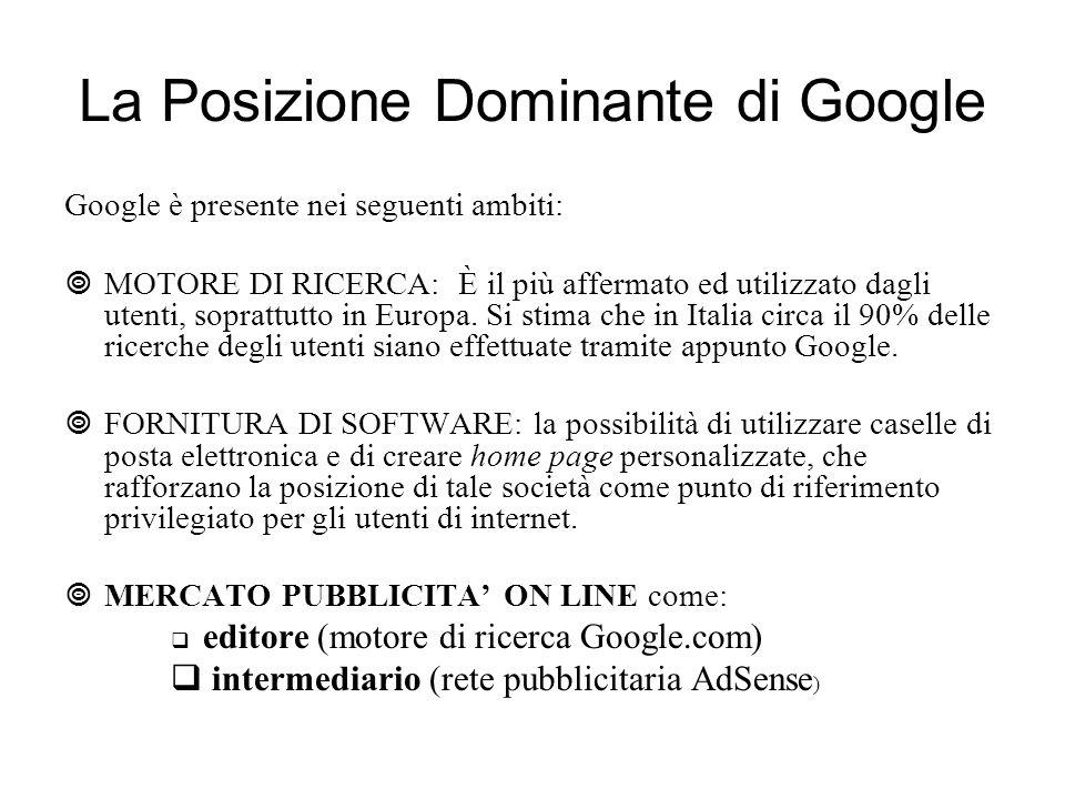 La Posizione Dominante di Google Google è presente nei seguenti ambiti: MOTORE DI RICERCA: È il più affermato ed utilizzato dagli utenti, soprattutto