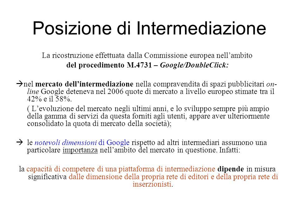 Posizione di Intermediazione La ricostruzione effettuata dalla Commissione europea nellambito del procedimento M.4731 – Google/DoubleClick: nel mercat