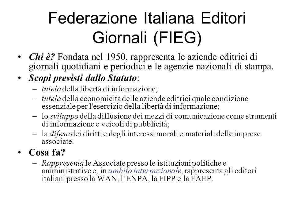 Federazione Italiana Editori Giornali (FIEG) Chi è? Fondata nel 1950, rappresenta le aziende editrici di giornali quotidiani e periodici e le agenzie