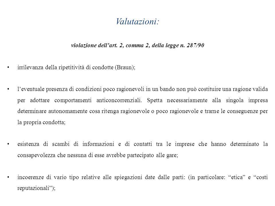 Valutazioni: violazione dellart. 2, comma 2, della legge n. 287/90 irrilevanza della ripetitività di condotte (Braun); leventuale presenza di condizio