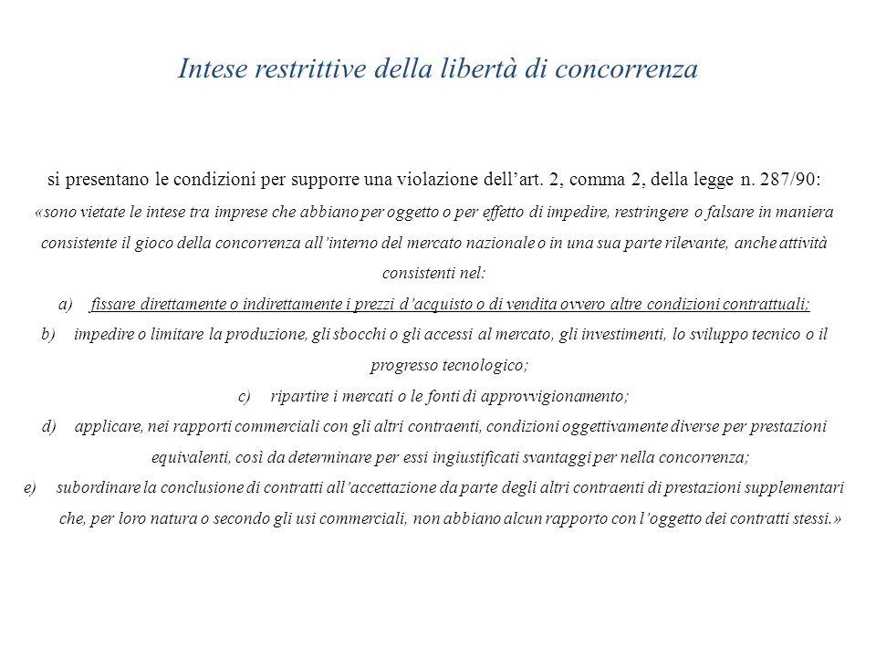 Intese restrittive della libertà di concorrenza si presentano le condizioni per supporre una violazione dellart. 2, comma 2, della legge n. 287/90: «s