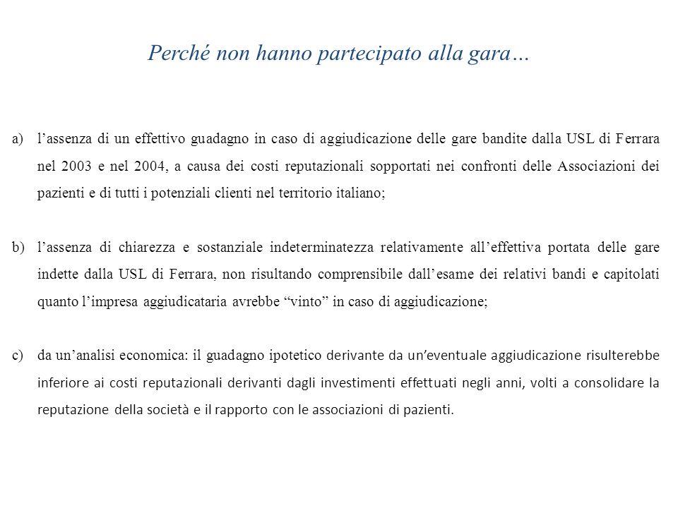 Perché non hanno partecipato alla gara… a)lassenza di un effettivo guadagno in caso di aggiudicazione delle gare bandite dalla USL di Ferrara nel 2003