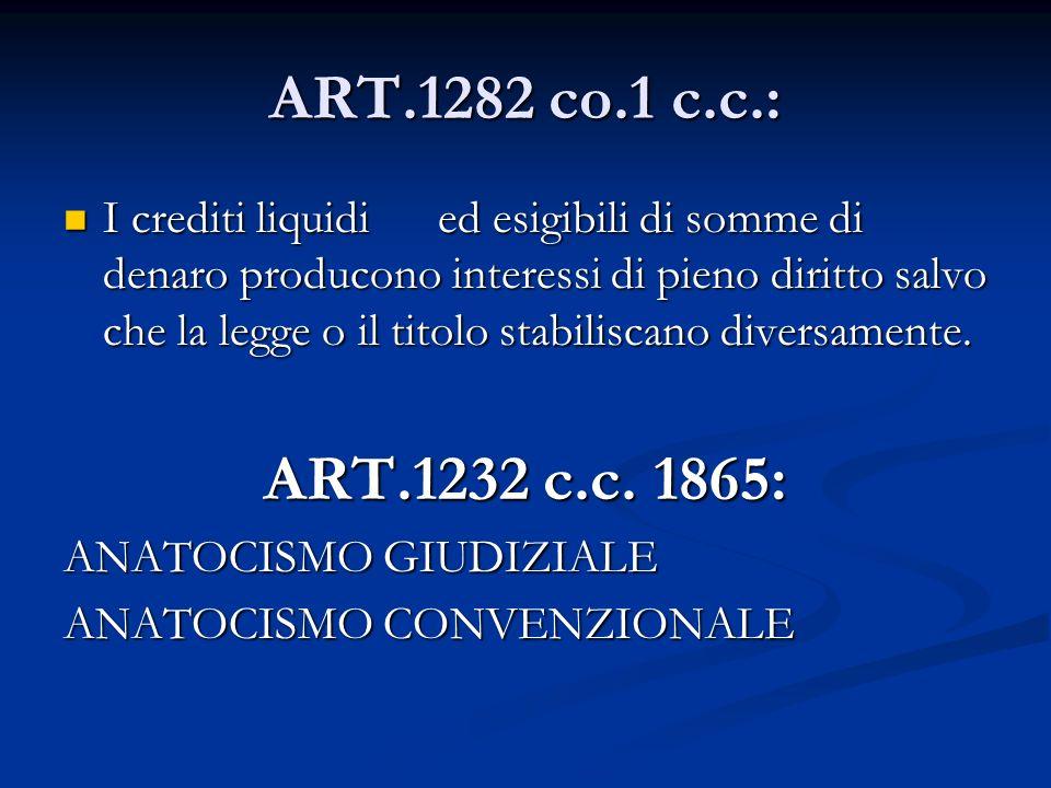 ART.1282 co.1 c.c.: I crediti liquidi ed esigibili di somme di denaro producono interessi di pieno diritto salvo che la legge o il titolo stabiliscano