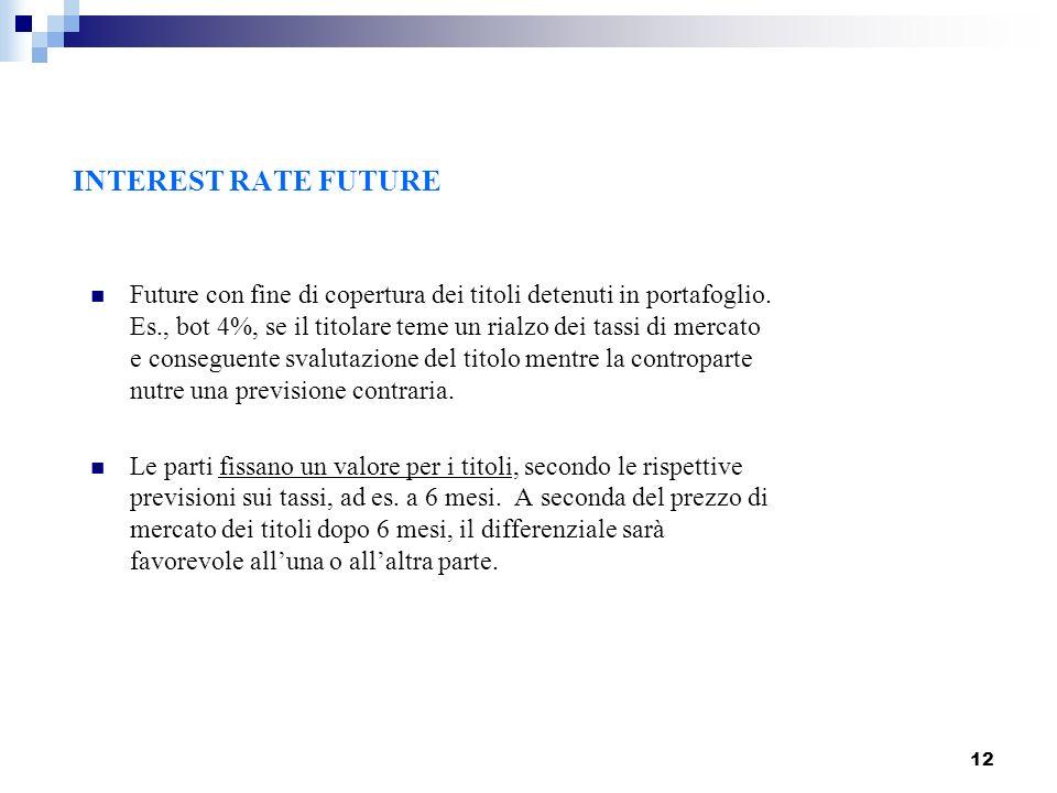 12 INTEREST RATE FUTURE Future con fine di copertura dei titoli detenuti in portafoglio. Es., bot 4%, se il titolare teme un rialzo dei tassi di merca