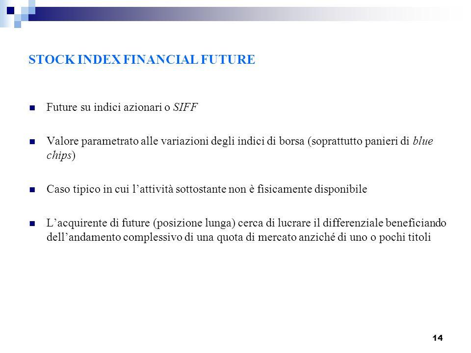 14 STOCK INDEX FINANCIAL FUTURE Future su indici azionari o SIFF Valore parametrato alle variazioni degli indici di borsa (soprattutto panieri di blue