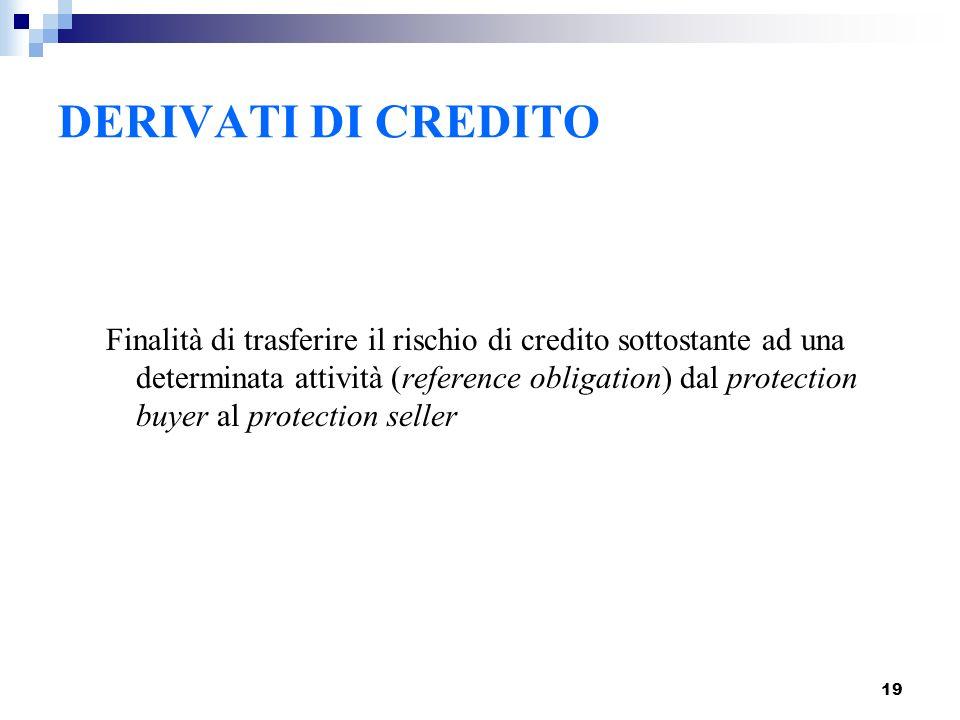 19 DERIVATI DI CREDITO Finalità di trasferire il rischio di credito sottostante ad una determinata attività (reference obligation) dal protection buye