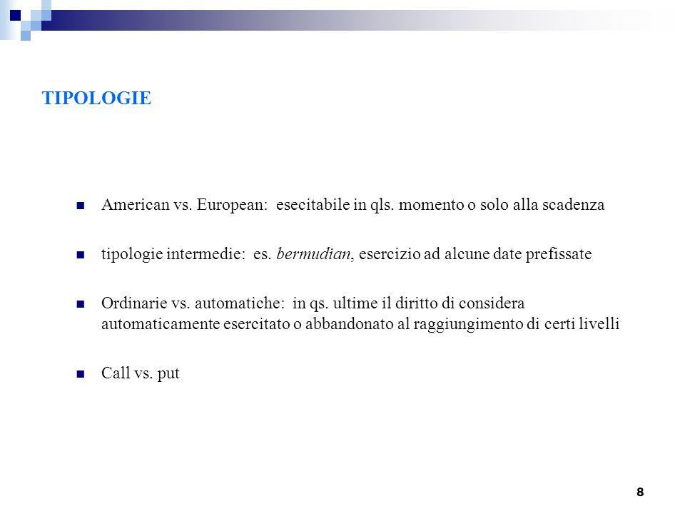 8 American vs. European: esecitabile in qls. momento o solo alla scadenza tipologie intermedie: es. bermudian, esercizio ad alcune date prefissate Ord